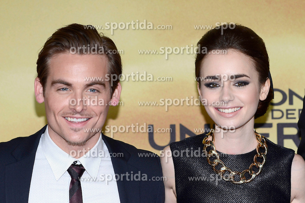 20.08.2013, Cinestar Sony Center, Berlin, GER, Europapremiere, Chronikern der Unterwelt, City of Bones, im Bild Kevin Zegers und Lily Collins // during photocall for the europepremiere of the movie City of Bones at the CineStar Sony Center in Berlin, Germany on 2013/08/20. EXPA Pictures &copy; 2013, PhotoCredit: EXPA/ Newspix/ Clemens Niehaus<br /> <br /> ***** ATTENTION - for AUT, SLO, CRO, SRB, BIH, TUR, SUI and SWE only *****