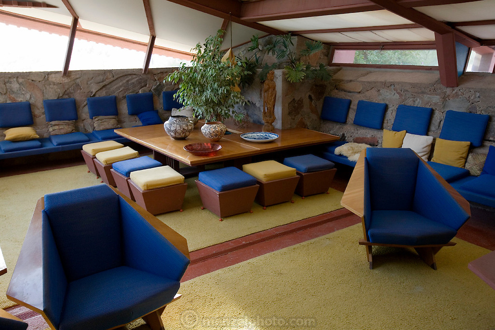 Interior, Taliesin West, Scottsdale, AZ. Frank Lloyd Wright Center.