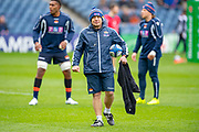 Richard Cockerill, Head Coach of Edinburgh Rugby watches his team warm up before the Heineken Champions Cup quarter-final match between Edinburgh Rugby and Munster Rugby at BT Murrayfield Stadium, Edinburgh, Scotland on 30 March 2019.