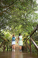Girls Looking at Trees from Bridge