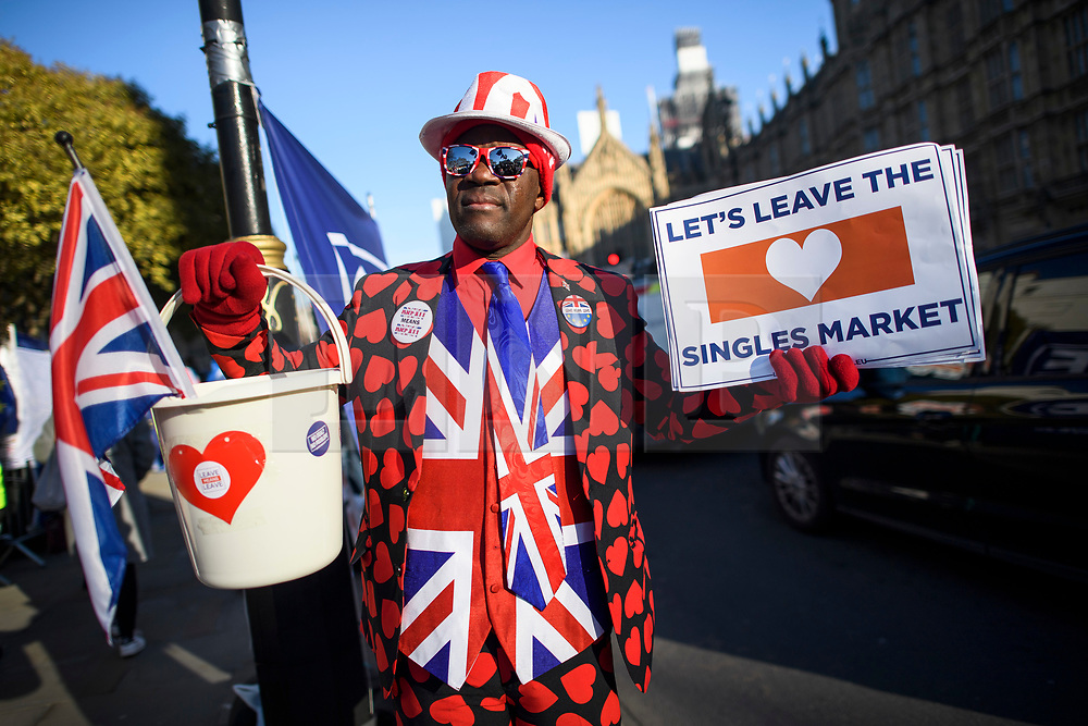 © Licensed to London News Pictures. 14/02/2019. London, UK. A pro Brexit campaigner outside the Houses of Parliament in Westminster, on the day that MPs are due to take part in further debates and votes on Brexit. A series of amendments are being tabled to try to change the direction of Brexit, but a vote on a deal will not be held today as was originally planned. Photo credit: Ben Cawthra/LNP