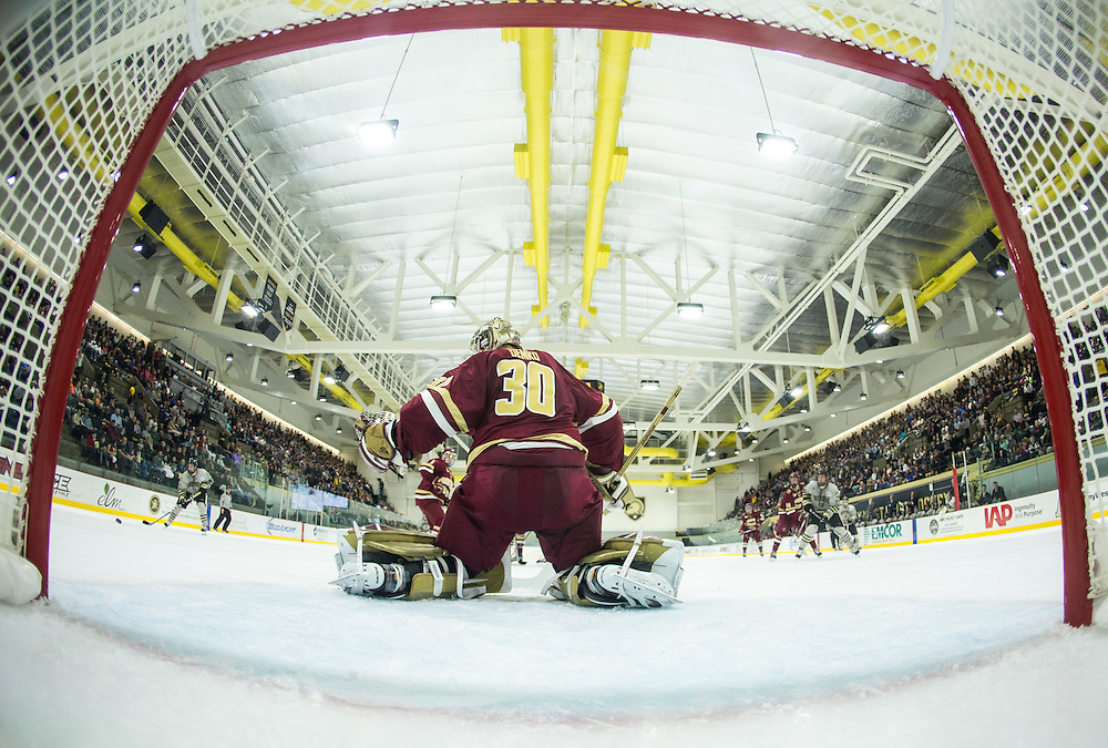 Boston College Goaltender Thatcher Demko (30) makes a save during the second period of a NCAA hockey game between Army and Boston College at Tate Rink on October 9, 2015 in West Point, New York. (Dustin Satloff)
