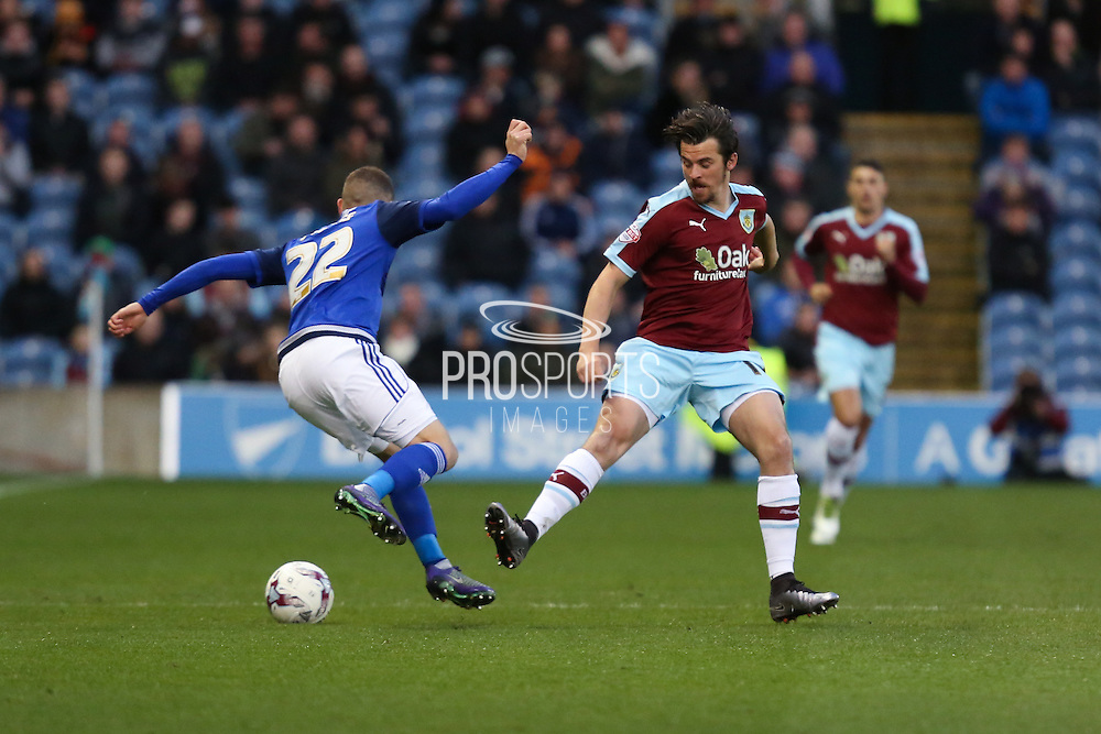 Joey Barton of Burnley and Stuart O'Keefe of Cardiff City battle for the ball during the Sky Bet Championship match between Burnley and Cardiff City at Turf Moor, Burnley, England on 5 April 2016. Photo by Simon Brady.