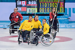 Haito Wang, Qiang Zhang, Guangqin Xu, Wheelchair Curling Semi Finals at the 2014 Sochi Winter Paralympic Games, Russia