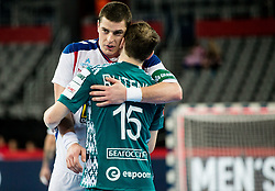 Mijajlo Marsenic of Serbia and Dzianis Rutenka of Belarus after the handball match between National teams of Serbia and Belarus on Day 7 in Main Round of Men's EHF EURO 2018, on January 24, 2018 in Arena Zagreb, Zagreb, Croatia.  Photo by Vid Ponikvar / Sportida
