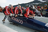 The Monaco team of Patrice Servelle, Jeremoy Bottin, Joffery Tocant, and Petr Narovec compete in the Mens' four-person bobsleigh World Cup competition held at the Whistler Sliding Centre on Feb 7, 2009