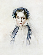 Victoria (1819-1901) Queen of Great Britain from 1837. Victoria as a young woman. Lithograph