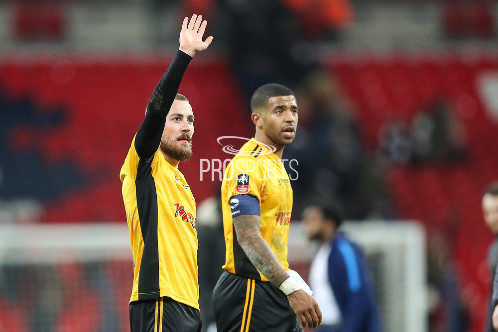 Dan Butler of Newport County acknowledges the visiting fans during the The FA Cup fourth round replay match between Tottenham Hotspur and Newport County at Wembley Stadium, London, England on 6 February 2018. Picture by Toyin Oshodi.
