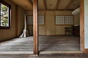 Oiso, Kanagawa prefecture, Japan, February 10 2017 - Keiji and Atsuko Suzuki's minka, traditional wooden house, is the last minka home in Oiso. The previous owner of the 3,000 sq. ft. house moved it from the shores of Lake Biwa, near Kyoto, 35 years ago.<br /> Annex bedroom in the detached house.