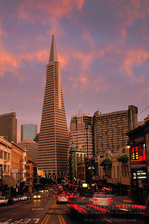 Clouds at sunset above the TransAmerica Pyramid and North Beach near Columbus & Broadway, San Francisco, California