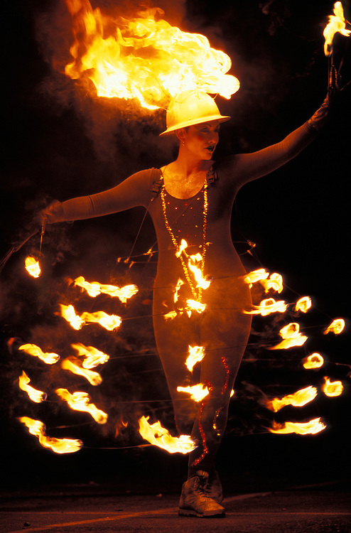 USA, Washington, Seattle, Pyrotechnic circus performance of the Cirque de Flambé troupe at Seattle's Fringe Festival