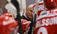 2020-02-12 | Ljungby, Sweden: Troja-Ljungby coach Roger Forsberg under a time out during the game between IF Troja / Ljungby and Huddinge IK at Ljungby Arena ( Photo by: Fredrik Sten | Swe Press Photo )<br /> <br /> Keywords: Ljungby, Icehockey, HockeyEttan, Ljungby Arena, IF Troja / Ljungby, Huddinge IK, fsth200212, ATG HockeyEttan, Allettan