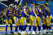The Los Angeles Rams offense huddles and calls a play near their own end zone during the NFL Super Bowl 53 football game against the New England Patriots on Sunday, Feb. 3, 2019, in Atlanta. The Patriots defeated the Rams 13-3. (©Paul Anthony Spinelli)