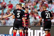 SYDNEY, NSW - JANUARY 18: Western Sydney Wanderers defender Brendan Hamill (5) unhappy with the yellow card given to Western Sydney Wanderers defender Tarek Elrich (21) at the Hyundai A-League Round 14 soccer match between Western Sydney Wanderers and Adelaide United at ANZ Stadium in NSW, Australia 18 January 2019. Image by (Speed Media/Icon Sportswire)