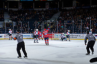 KELOWNA, CANADA - MARCH 13: Jaret Anderson-Dolan #11 of the Spokane Chiefs raises his arms in the air to celebrate a first period goal against the Kelowna Rockets  on March 13, 2019 at Prospera Place in Kelowna, British Columbia, Canada.  (Photo by Marissa Baecker/Shoot the Breeze)