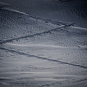 The z shape of a skin track on the Shuksan Arm off of Mount Baker Ski Area.