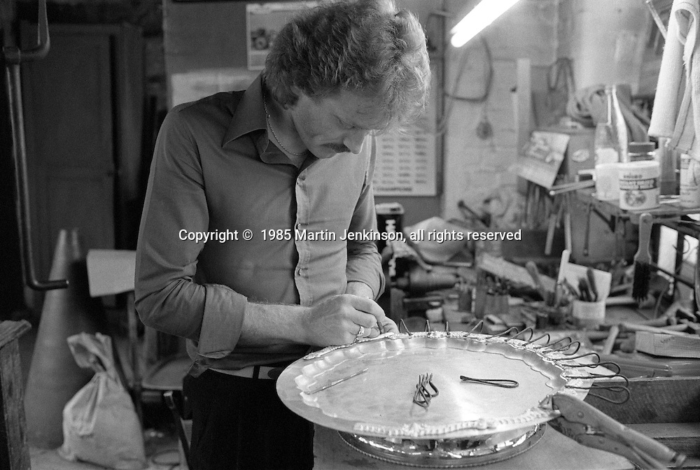 Silversmith working at Frank Cobb Ltd, Broad Street Sheffield. 1985