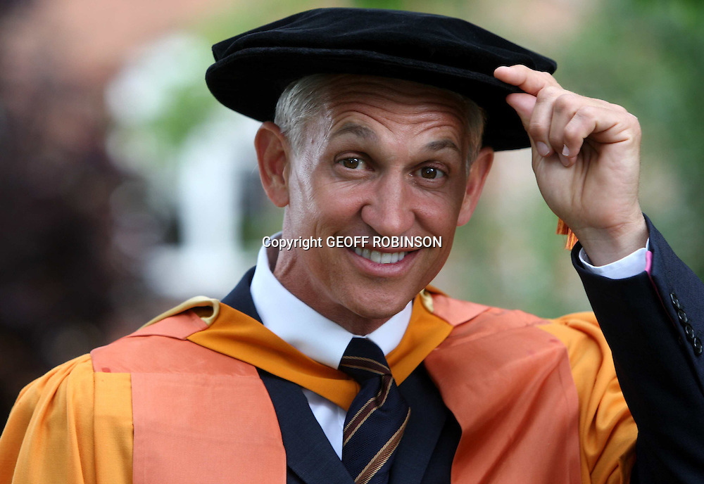 "GARY LINEKER ON TUESDAY AFTERNOON AT DE MONFORT UNIVERSITY...Former England striker Gary Lineker has scored another hat-trick after receiving his third honorary degree today (Tues)...The football legend and face of Walkers crisps, has been made an Honorary Doctor of Letters at De Montfort University (DMU) in his hometown of Leicester...The 48-year-old, who played for Tottenham, Leicester and Barcelona, already had honorary degrees from nearby University of Leicester and Loughborough University...""I feel privileged and honoured. It is a nice gesture from my home town,"" said Gary, who now presents BBC's Match of the Day...""I think for someone like myself who jumped out of school as quickly as I could at 16, you might say I feel slightly fraudulent with all the students at De Montfort working so hard for their degrees - but I suppose I have worked hard during my life!..""I have an honorary degree from Leicester and one from Loughborough so this is the hat-trick, but this one is like a promotion, receiving a doctorate and becoming a doctor of letters...""Footballers are not known for their use of letters so that is quite an honour in itself really!""..SEE COPY CATCHLINE Gary Lineker gets honorary degree"