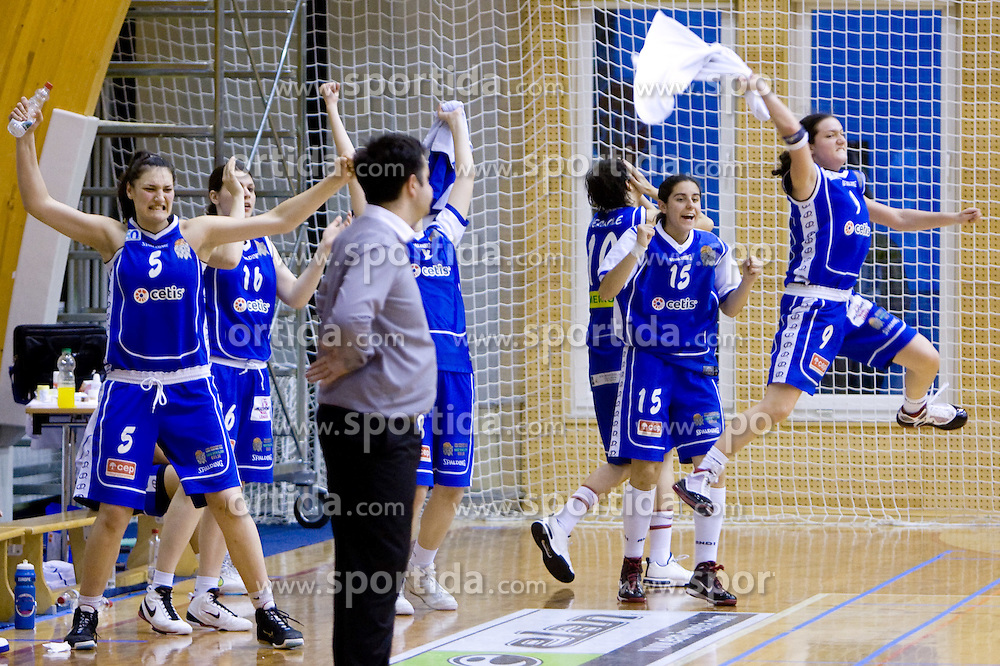 Ana Turcinovic, Tjasa Kopusar (15) and Nika Baric (9) celebrate at 4th final match of Slovenian women basketball 1st league between Hit Kranjska Gora and ZKK Merkur Celje, on May 13, 2010, in Arena Vitranc, Kranjska Gora, Slovenia. Celje defeated Kr. Gora 71-60 and the result after 4th match is 2-2. (Photo by Vid Ponikvar / Sportida)