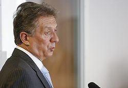 August 15, 2017 - Kiev, Ukraine - Obolon district court of Kyiv interrogates prosecuting witness Yuri Sergeyev, the former permanent representative of Ukraine to the UN, Kyiv, Ukraine, August 15, 2017...Obolon district court of Kyiv hears the case on charges of deposed Kremlin-backed president Viktor Yanukovych, who was accused of high treason and other crimes committed before he fled to Russia in February 2014. Yanukovych fled Ukraine in February 2014 after three months of pro-EU protests in Kyiv culminated in a bloody standoff with anti-riot police in which nearly 100 mostly-unarmed people were shot dead. (Credit Image: © Sergii Kharchenko/NurPhoto via ZUMA Press)