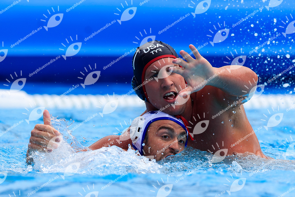Alex Roelse of United states of america and Alexandre Camarasa of France<br /> Greece (white cap) -  Spain (blue cap)<br /> Quarterfinal  Round Water Polo Women<br /> Day10  23/07/2017 <br /> XVII FINA World Championships Aquatics<br /> Alfred Hajos Complex Margaret Island  <br /> Budapest Hungary <br /> Photo @Deepbluemedia/Insidefoto Photo @Marcelterbals/Deepbluemedia/Insidefoto