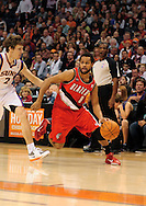 Dec. 10 2010; Phoenix, AZ, USA; Portland Trailblazers guard Patrick Mills (8) handles the ball against Phoenix Suns guard Goran Dragic (2) during the first half at the US Airways Center. Mandatory Credit: Jennifer Stewart-US PRESSWIRE.