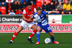 Gavin Reilly of Bristol Rovers holds off pressure from Richard Wood of Rotherham United - Mandatory by-line: Ryan Crockett/JMP - 18/01/2020 - FOOTBALL - Aesseal New York Stadium - Rotherham, England - Rotherham United v Bristol Rovers - Sky Bet League One