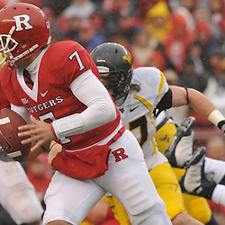 Dec 5, 2009; Piscataway, NJ, USA; Rutgers quarterback Tom Savage (7) scrambles from the pocket during first half NCAA Big East college football action between Rutgers and West Virginia at Rutgers Stadium.