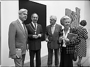 10/09/1988<br /> 09/10/1988<br /> 10 September 1988<br /> ROSC 1988 Exhibition at the Guinness Hop Store. <br /> Sir Norman Mcfarlane visits ROSC '88. Mr Pat Murphy, (third from left) Chairman of ROSC with Alderman Ben Briscoe, T.D. (second from left) Lord Mayor of Dublin; Sir Norman Macfarlane, Chairman of Guinness plc and Lady Gretta Macfarlane during their visit to ROSC '88.