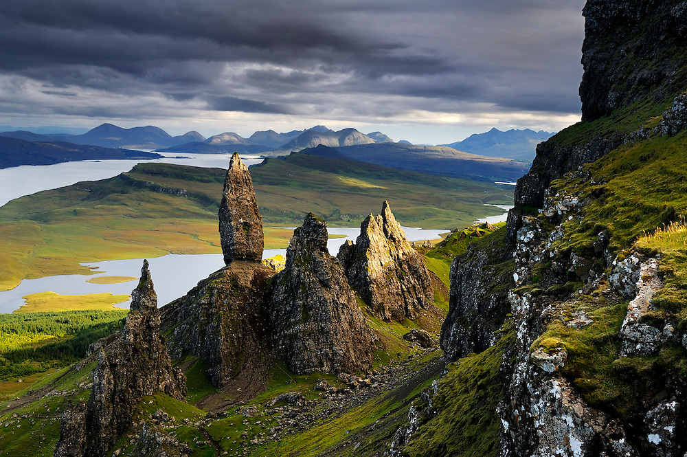 The Storr is part of the Trotternish geologic formation in the northeast corner of the Isle of Skye, Scotland.  The largest of the monoliths is called The Old Man of Storr.  To the south are the Cuillins of southern Skye.  To buy this print click on the SHOPPING CART below.