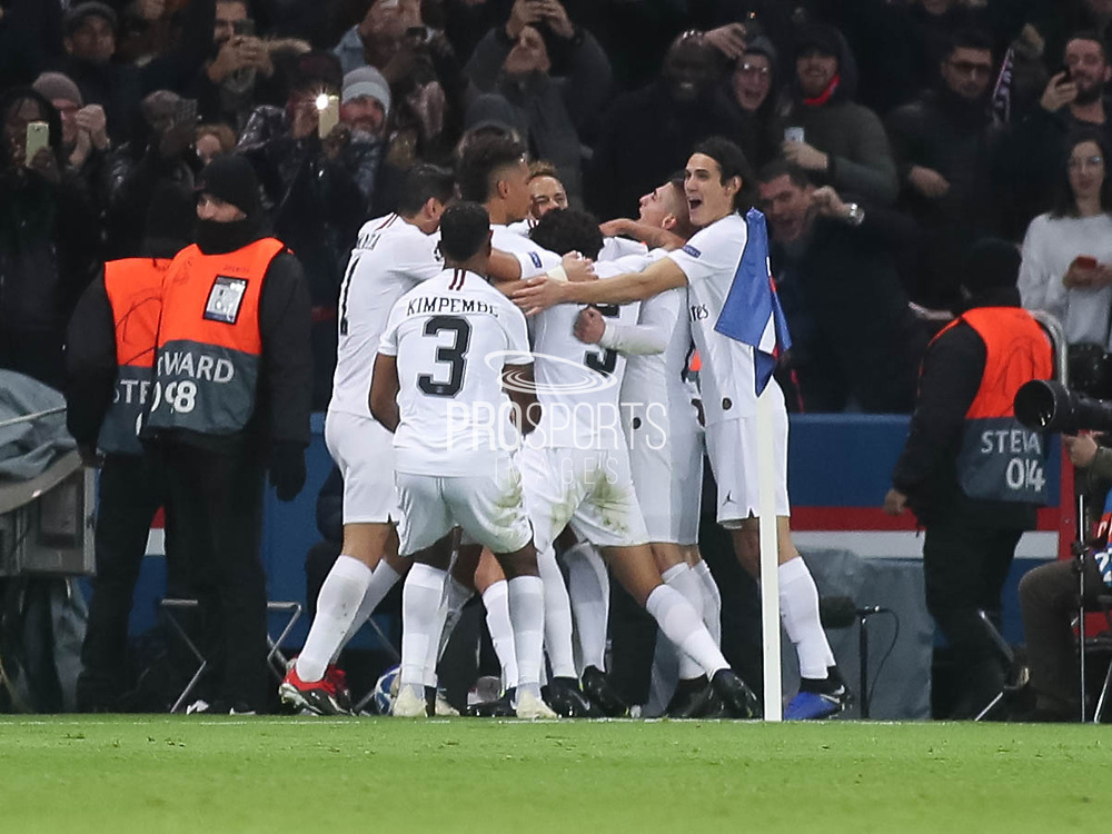 Paris Saint-Germain players celebrates during the Champions League group stage match between Paris Saint-Germain and Liverpool at Parc des Princes, Paris, France on 28 November 2018.