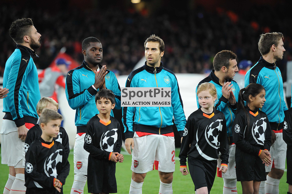 Arsenals Matthieu Flamini before the Arsenal v Dinamo Zagreb game in the UEFA Champions League on the 24th November 2015 at the Emirates Stadium.