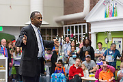 Former Neurosurgeon and Republican presidential candidate Dr. Ben Carson wishes patients and staff a Merry Christmas during a visit to the MUSC Children's Hospital December 22, 2015 in Charleston, South Carolina. Carson stopped by to listen to Christmas carols and greet the young patients.