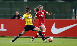 Georgia Evans of Bristol City Women takes on Lauren Haynes of Oxford United - Mandatory by-line: Robbie Stephenson/JMP - 25/06/2016 - FOOTBALL - Stoke Gifford Stadium - Bristol, England - Bristol City Women v Oxford United Women - FA Women's Super League 2
