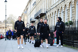 The Bath Rugby team walk down Pulteney Street on their way to the Rec - Mandatory byline: Patrick Khachfe/JMP - 07966 386802 - 16/11/2019 - RUGBY UNION - The Recreation Ground - Bath, England - Bath Rugby v Ulster Rugby - Heineken Champions Cup