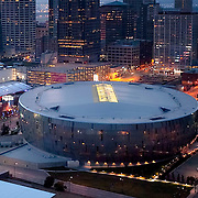 Downtown Kansas City, Missouri aerial view with Sprint Center arena in foreground.