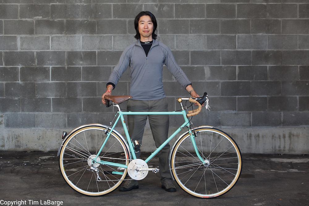 Koushou Kinugawa of Helavana Cycles at the Handmade Bike and Beer Festival at Hopworks Urban Brewery in Portland, Oregon. Image by Tim LaBarge