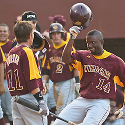 June 03, 2011; Tallahassee, FL, USA; Bethune-Cookman Wildcats left fielder DJ Leonard (14) celebrates following a homerun during the fifth inning of the Tallahassee regional of the 2011 NCAA baseball tournament against the Florida State Seminoles at Dick Howser Stadium. Mandatory Credit: Derick E. Hingle