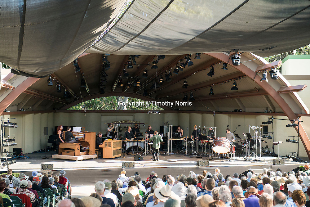 "Conductor Joshua Gersen, Colin Fowler and red fish blue fish perform Lou Harrison's ""Concerto for Organ with Percussion Orchestra"" at Libbey Bowl on June 9, 2013 in Ojai, California."