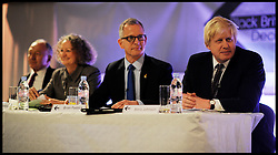 (L to R) Ken Livingstone, Jenny Jones, Brian Paddick and Boris Johnson,  during the Black Britain Mayoral Election Debate, London UK, April 12, 2012. Photo By Andrew Parsons / i-Images.