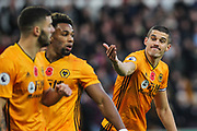 Conor Coady of Wolverhampton Wanderers during the Premier League match between Wolverhampton Wanderers and Aston Villa at Molineux, Wolverhampton, England on 10 November 2019.