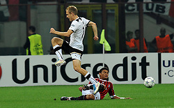 28.09.2011, Stadion Giuseppe Meazza, Mailand, ITA, UEFA CL, Gruppe H, ITA, UEFA CL, AC Mailand (ITA) vs FC Viktoria Pilsen (CZE), im Bild Daniel KOLAF Plzen, Thiago SILVA Milan // during the UEFA Champions League game, group H, AC Mailand (ITA) vs FC Viktoria Pilsen (CZE) at Giuseppe Meazza stadium in Mailand, Italy on 2011/09/28. EXPA Pictures © 2011, PhotoCredit: EXPA/ InsideFoto/ Alessandro Sabattini +++++ ATTENTION - FOR AUSTRIA/(AUT), SLOVENIA/(SLO), SERBIA/(SRB), CROATIA/(CRO), SWISS/(SUI) and SWEDEN/(SWE) CLIENT ONLY +++++
