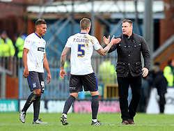 Bury Manager David Flitcroft celebrates victory at full time with Peter Clarke  - Mandatory byline: Matt McNulty/JMP - 06/12/2015 - Football - Spotland Stadium - Rochdale, England - Rochdale v Bury - FA Cup