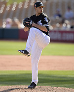 GLENDALE, ARIZONA - FEBRUARY 28:  Dylan Cease #85 of the Chicago White Sox pitches against the Texas Rangers on February 28, 2018 at Camelback Ranch in Glendale Arizona.  (Photo by Ron Vesely)  Subject:   Dylan Cease