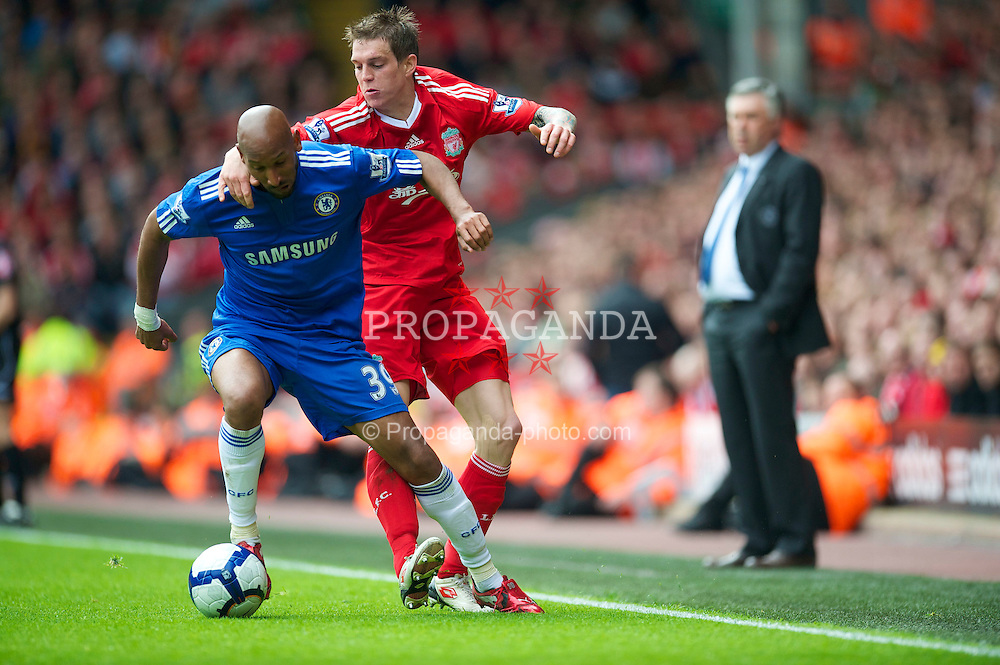 LIVERPOOL, ENGLAND - Sunday, May 2, 2010: Liverpool's Daniel Agger in action against Chelsea's Nicolas Anelka during the Premiership match at Anfield. (Photo by David Rawcliffe/Propaganda)