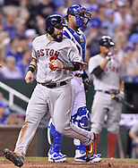 June 20, 2017 - Kansas City, MO, USA - The Boston Red Sox's Sandy Leon scores in front of Kansas City Royals catcher Salvador Perez on a double by Chris Young in the sixth inning at Kauffman Stadium in Kansas City, Mo., on Tuesday, June 20, 2017. (Credit Image: © John Sleezer/TNS via ZUMA Wire)
