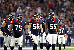 Houston Texans inside linebacker Brian Cushing leads the defense onto the field against the Cincinnati Bengals during the first half of an NFL football game Saturday, Dec. 24, 2016, in Houston. (AP Photo/Sam Craft)