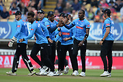 Jofra Archer and Sussex celebrate the wicket of Steven Davies during the Vitality T20 Finals Day semi final 2018 match between Sussex Sharks and Somerset County Cricket Club at Edgbaston, Birmingham, United Kingdom on 15 September 2018.