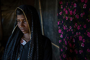 Rohingya refugee crisis. Dildar Begum. Survivor of the massacre at Tula Toli (Min Gyi village) in Mayanmar. Balukhali refugee camp, Cox's Bazar District, Bangladesh - Photograph by David Dare Parker