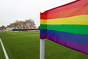 Kingsmeadow/ Cherry Red Records Stadium with a rainbow corner flag during the EFL Sky Bet League 1 match between AFC Wimbledon and Gillingham at the Cherry Red Records Stadium, Kingston, England on 23 November 2019.